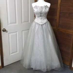 2 Piece Prom Gown - Silver